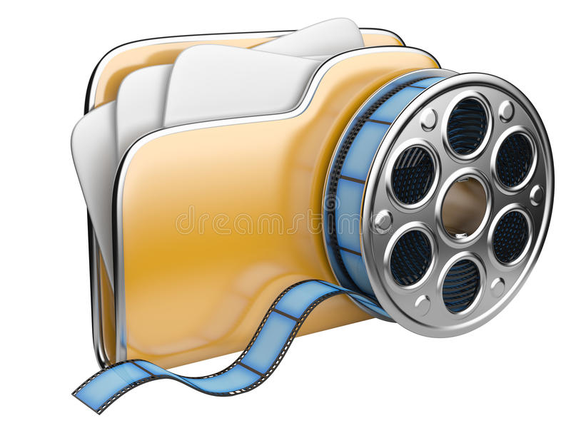 Video folder with a film reel. 3D illustration isolated on white background stock illustration