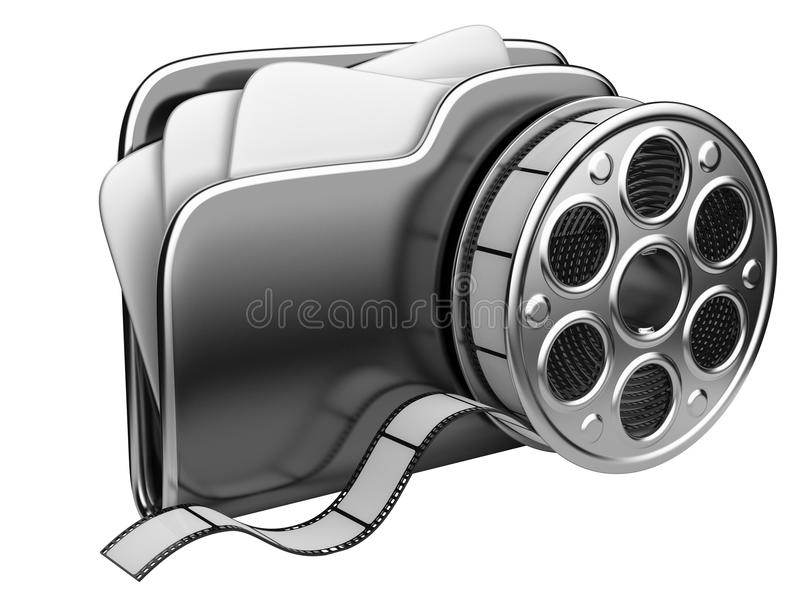 Video folder with a film reel. 3D illustration isolated on white background royalty free illustration