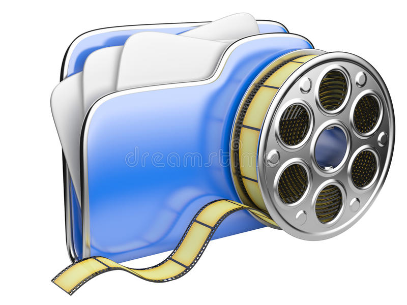 Video folder with a film reel. 3D illustration isolated on white background vector illustration