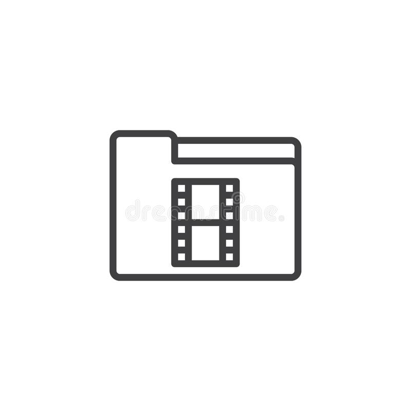 Video Folder outline icon. Linear style sign for mobile concept and web design. Movie folder simple line vector icon. Symbol, logo illustration. Pixel perfect royalty free illustration