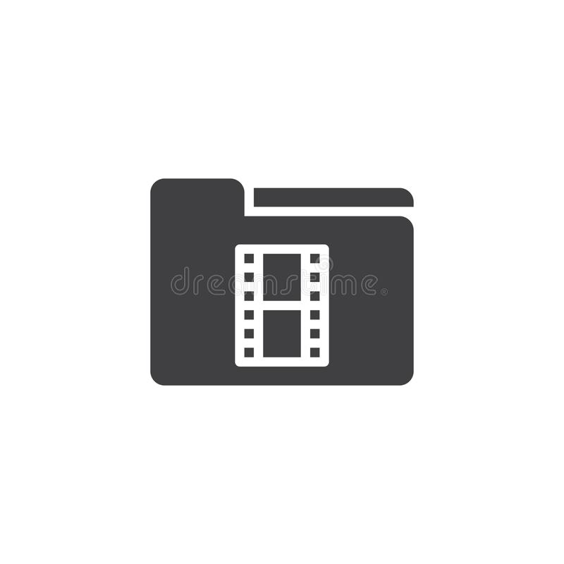 Video Folder vector icon. Filled flat sign for mobile concept and web design. Movie folder simple solid icon. Symbol, logo illustration. Pixel perfect vector royalty free illustration