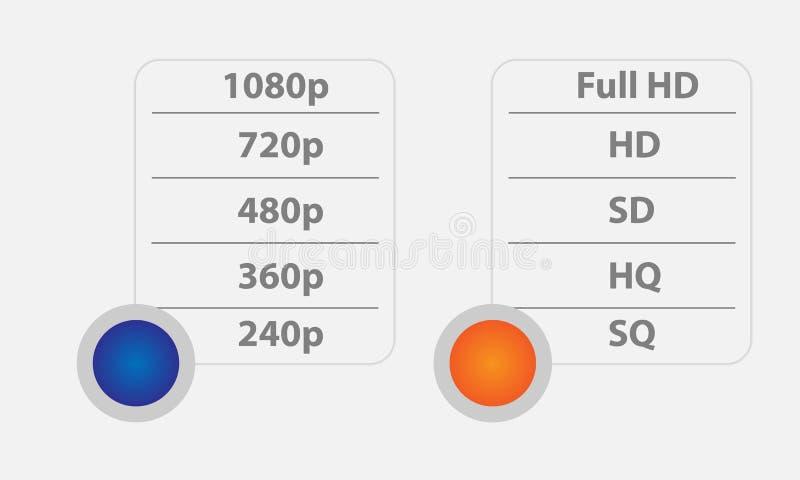 Video formati di qualità Elementi dell'interfaccia illustrazione vettoriale