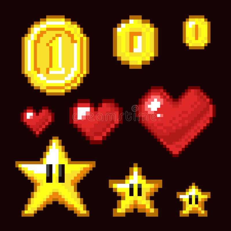 Free Video Game 8 Bit Assets Isolated. Coin, Star And Heart Pixel Retro Icons In Different Size Royalty Free Stock Photo - 101453295