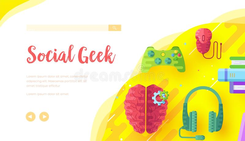 Video game background with joypad, headphones. Video game background with joypad, headphones, computer mouse, books, brain. Concept of social geek, hobby stock illustration