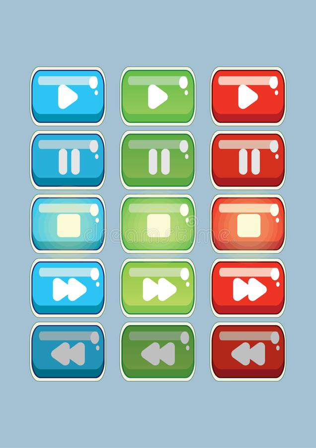 Video and game buttons for kids game in three colors vector illustration