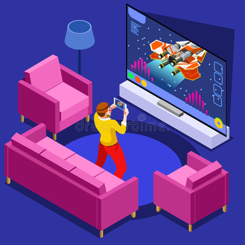 Video Game Computer Gaming Isometric Person Vector Illustration. Video game screen and gamer person gaming online with console controller android phone or vector illustration