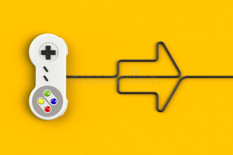 Video game console GamePad. Gaming concept. Top view retro joystick with arrow symbol isolated on yellow background vector illustration