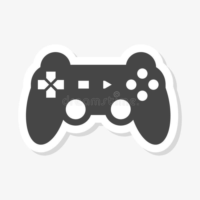 Video game controller or gamepad flat sticker. On white stock illustration