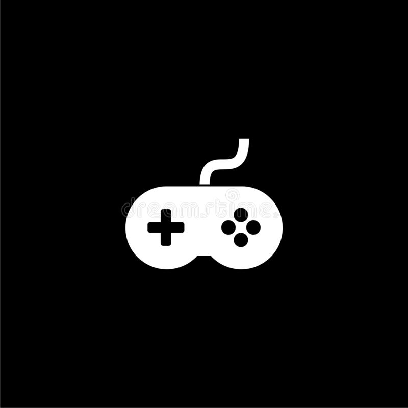 Video game controller or gamepad icon or logo on dark background. White Video game controller or gamepad icon or logo on dark background royalty free illustration