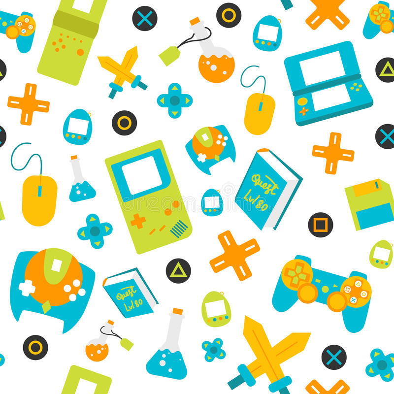 Video Game Controller gamepads seamless pattern flat style royalty free stock photos