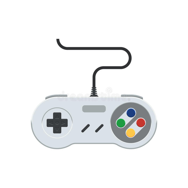 Video game controller. Retro Gamepad icon. Vintage joystick sign. Vector illustration in flat style, on white background royalty free illustration