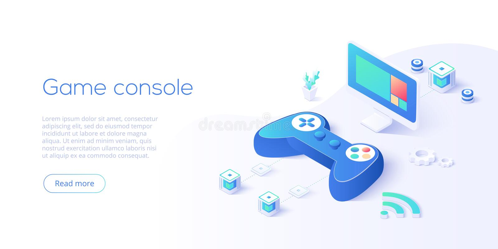 Video game controller and smart tv in isometric vector illustration. Television set with videogame console joystick connected via. Wi-fi internet. Web banner royalty free illustration