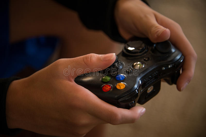 Video game controller - up close stock images