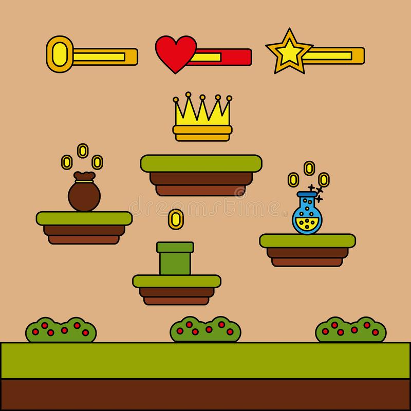 Video game crown bag money potion coins level stock illustration