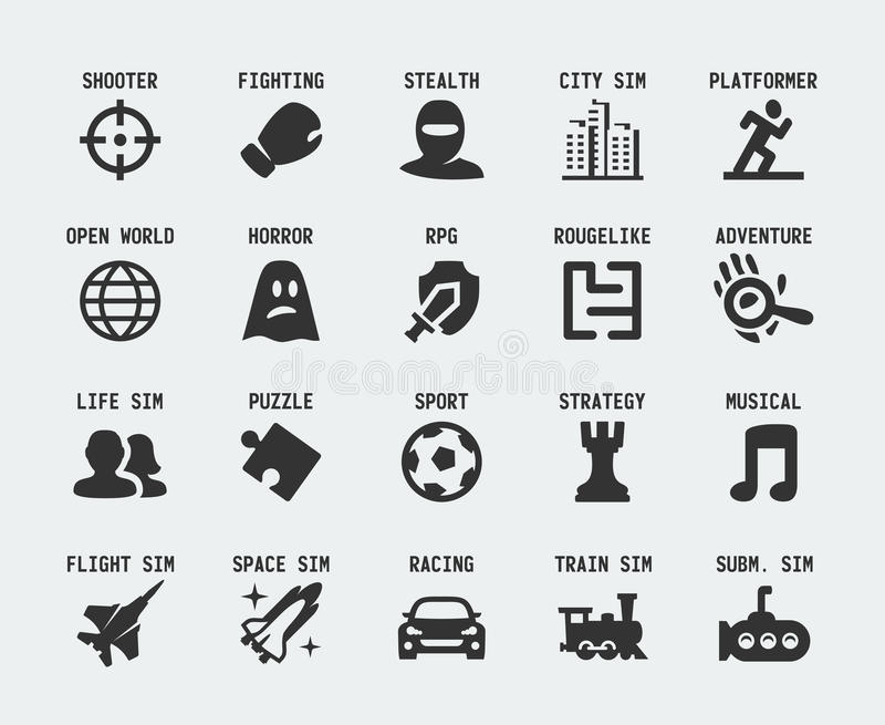 Video game genres vector icons royalty free illustration