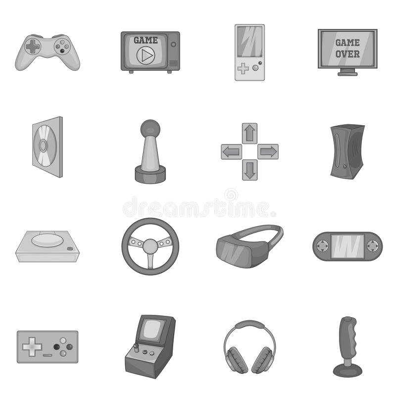 Video game icons set, black monochrome style royalty free illustration
