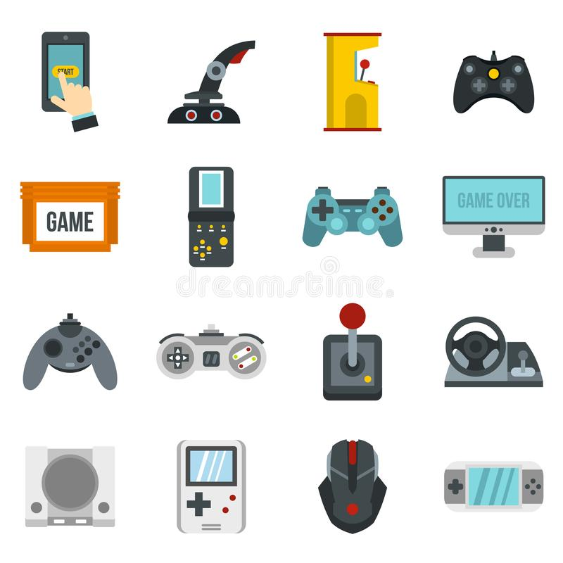 Video game icons set, flat style vector illustration