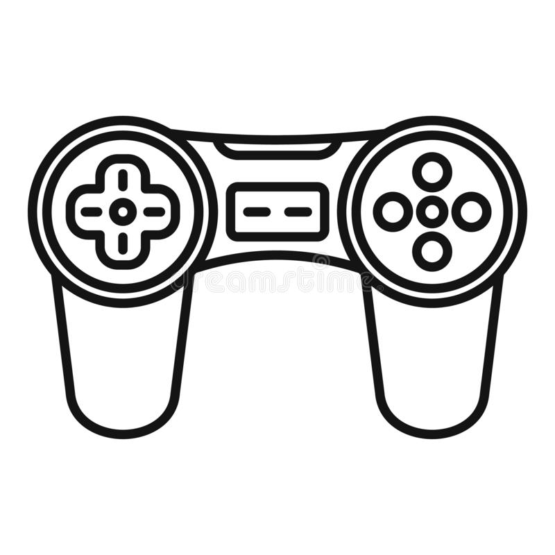 Video game joystick icon, outline style royalty free illustration