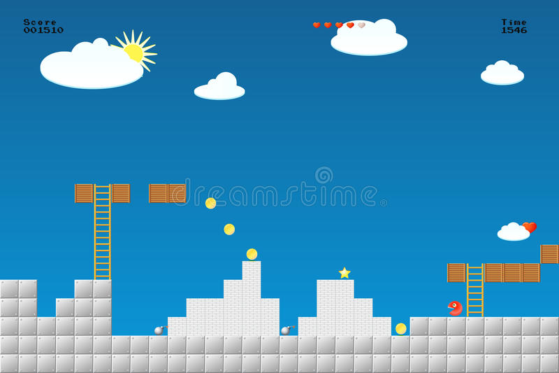Video game location, arcade games stock illustration