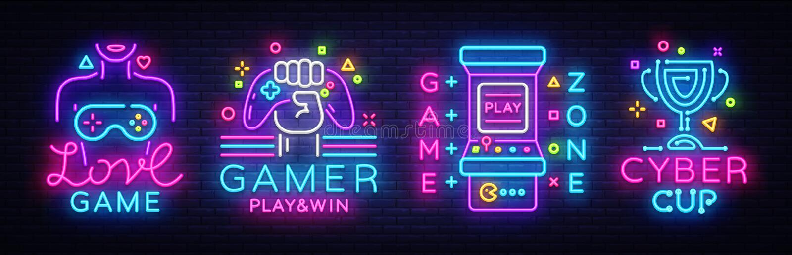 Video Game neon sign collection vector. Conceptual Logos, Love Game, Gamer logo, Game Zone, Cyber sport Emblem in Modern royalty free illustration