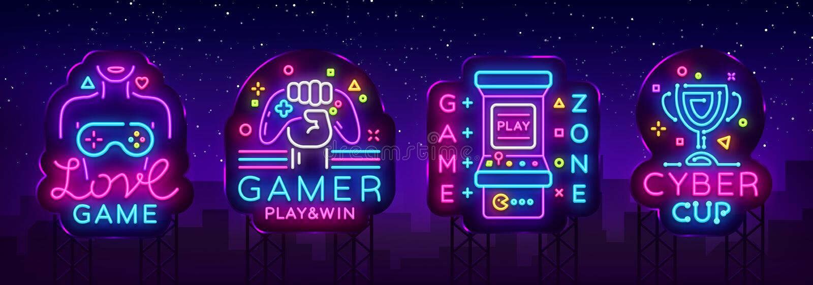 Video Game neon sign collection vector. Conceptual Logos, Love Game, Gamer logo, Game Zone, Cyber sport Emblem in Modern vector illustration