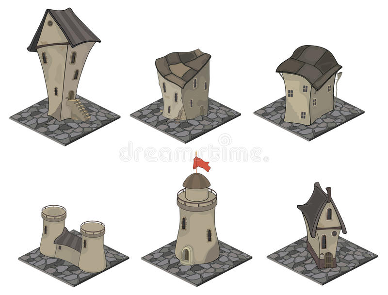 A video game objects: medieval building set royalty free illustration