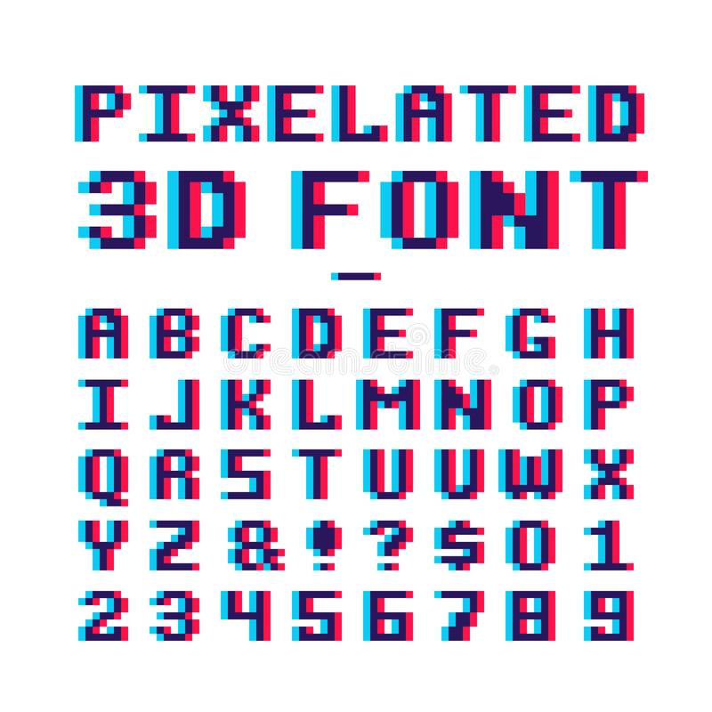 Retro 3d Alphabet And Number Sign, Old Typography Style