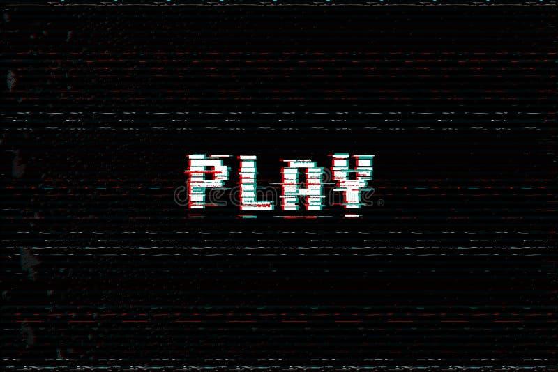 Video Game Play message, 3D glitch, vhs distort effect text, arcade begin vector illustration. vector illustration