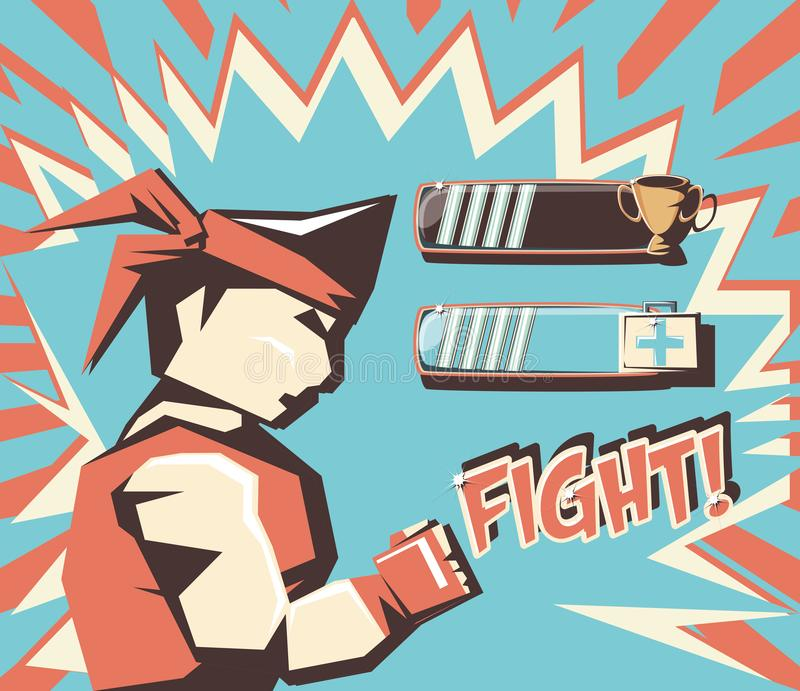 Video game retro figthers vector illustration