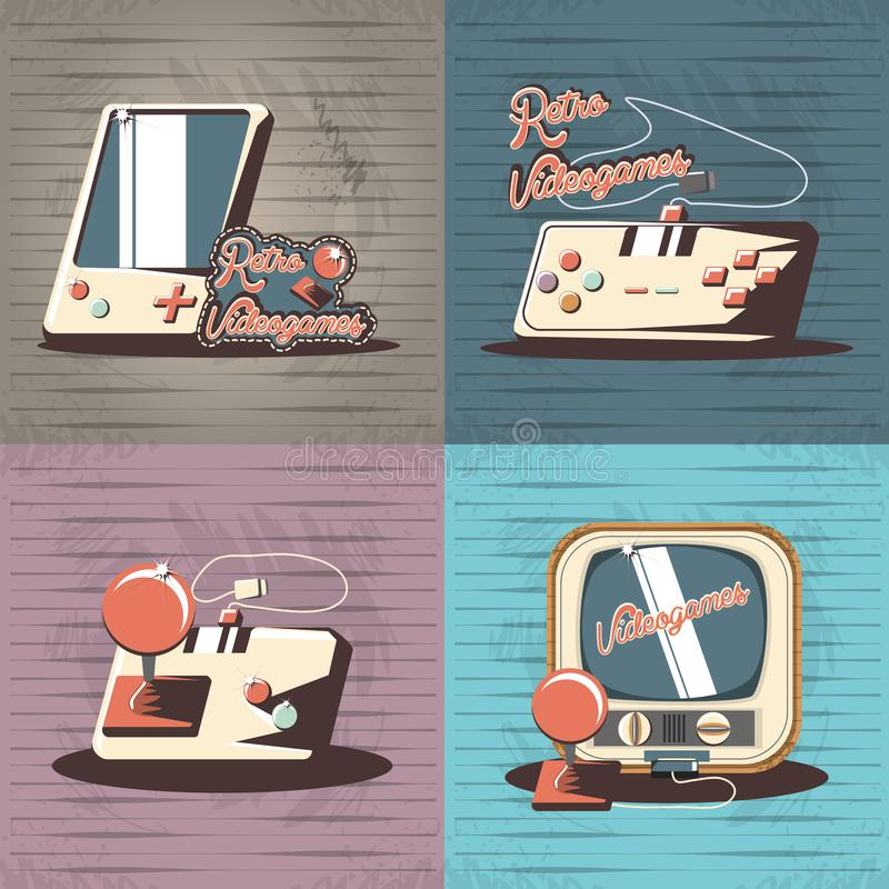 Video game retro set icons. Vector illustration design royalty free illustration