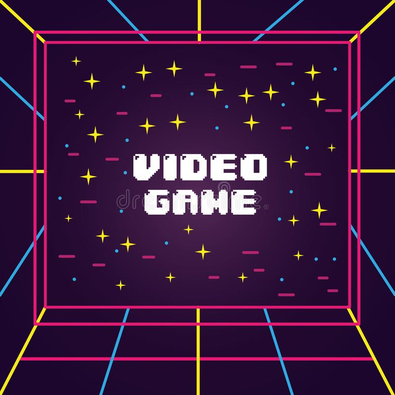Video game screen 3d view visual electronic stock illustration