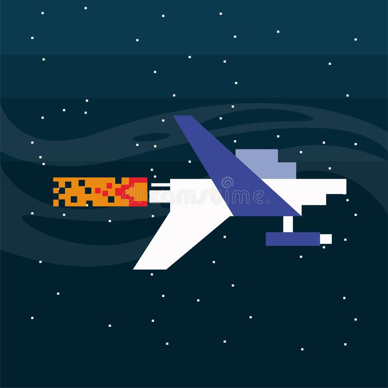 Video game spaceship flying in pixelated scene stock illustration