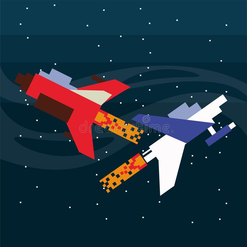 Video game spaceships flying in pixelated scene vector illustration