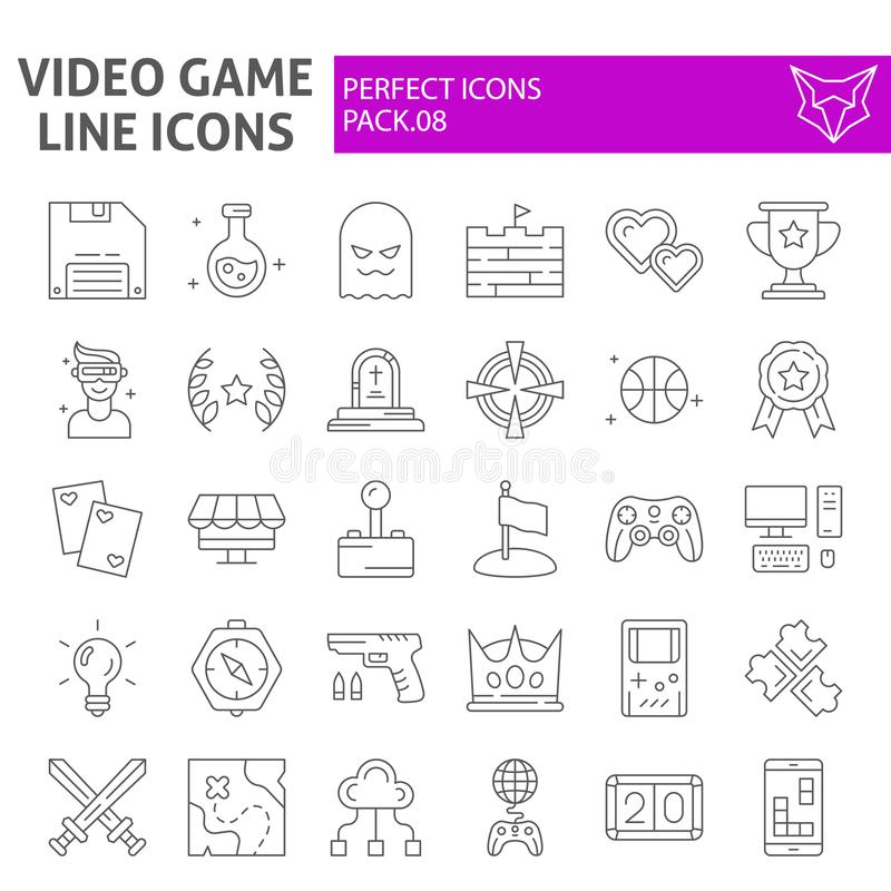 Video game thin line icon set, play symbols collection, vector sketches, logo illustrations, player signs linear vector illustration