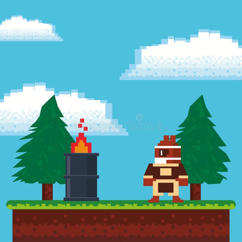 Video game warrior with flame barrel in pixelated scene royalty free illustration