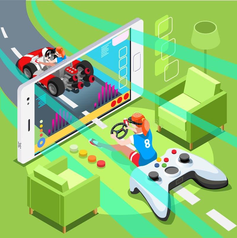 Video Gamerdator som spelar isometriska Person Vector Illustration royaltyfri illustrationer