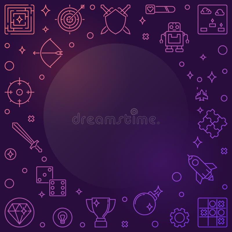 Video Games colorful outline frame. Vector Game illustration. Video Games colorful outline frame. Vector Game concept linear illustration royalty free illustration
