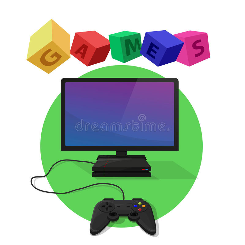 Video games. Console connected to the TV. White and green background with colored cubes vector illustration