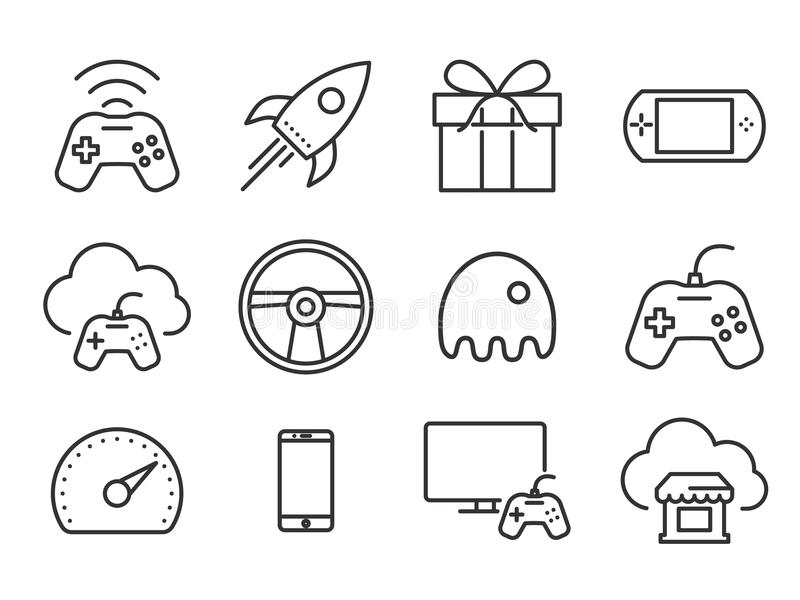Video games icons. Video game icons set. Plain line stock illustration