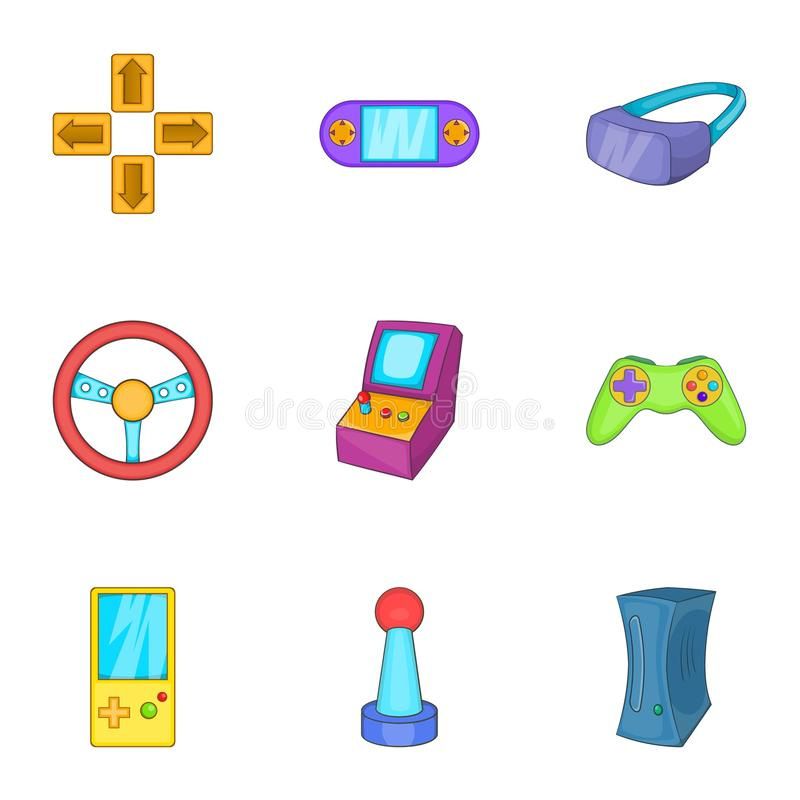 Video games icons set, cartoon style vector illustration