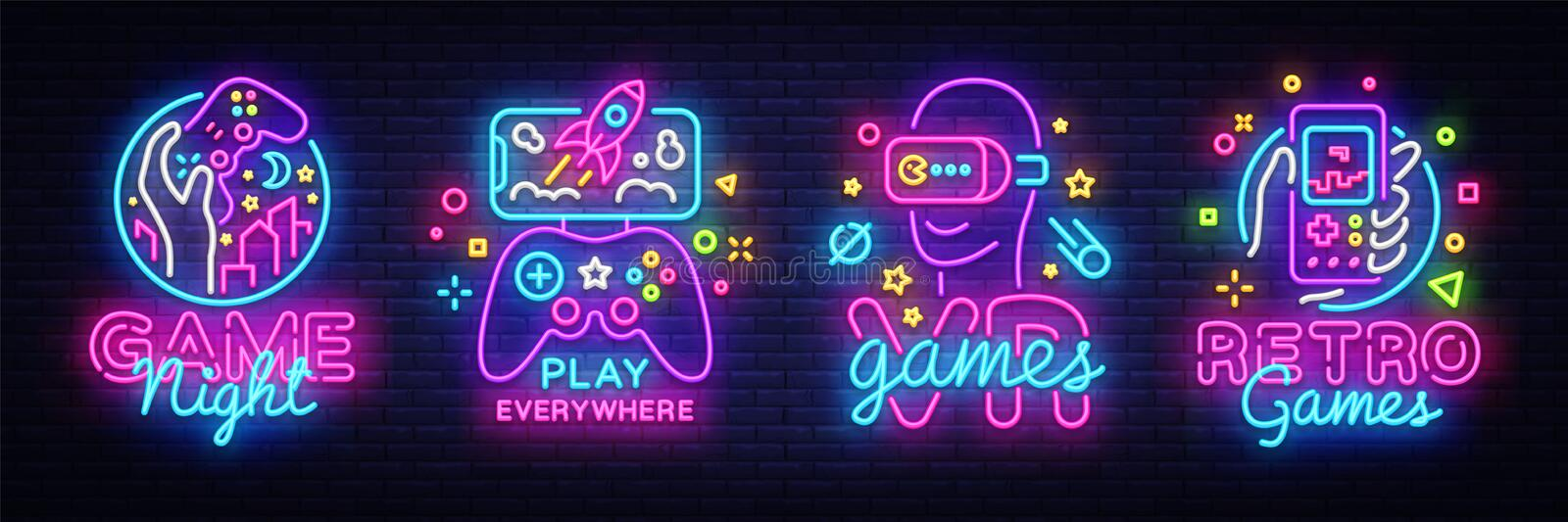 Video Games logos collection neon sign Vector design template. Conceptual Vr games, Retro Game night logo in neon style royalty free illustration