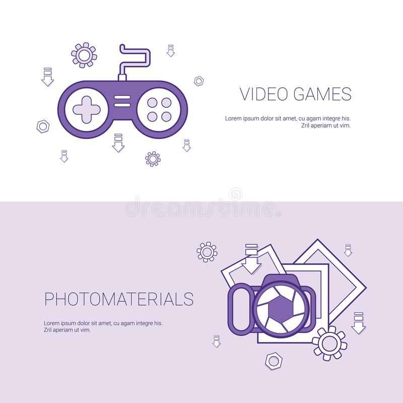 Video Games And Photo Materials Concept Template Web Banner With Copy Space vector illustration