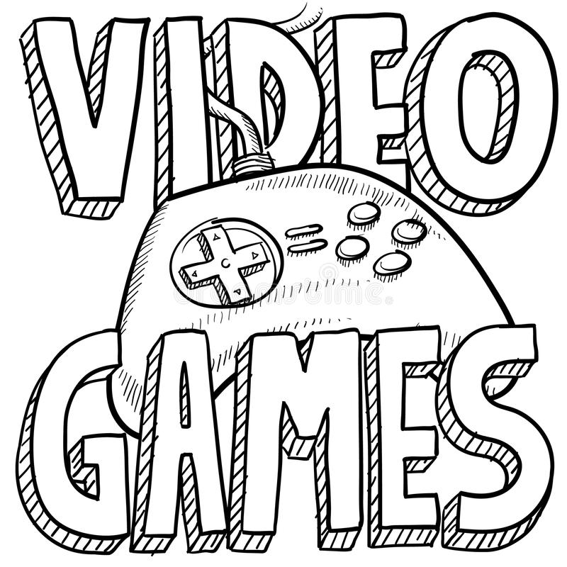 Video games sketch royalty free illustration