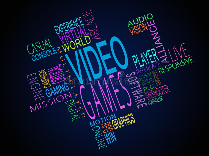 Video games terms together royalty free illustration