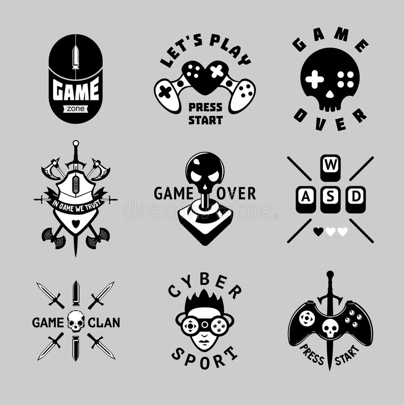 Video games vintage vector emblem set. Retro style gaming signs. T-shirts prints for gamers. Black and white tattoo. royalty free illustration