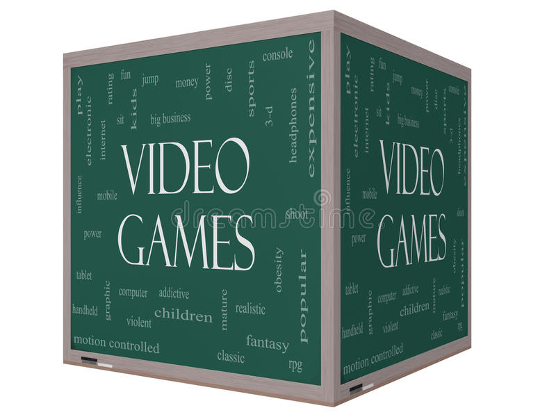 Video Games Word Cloud Concept on a 3D cube Blackboard royalty free illustration