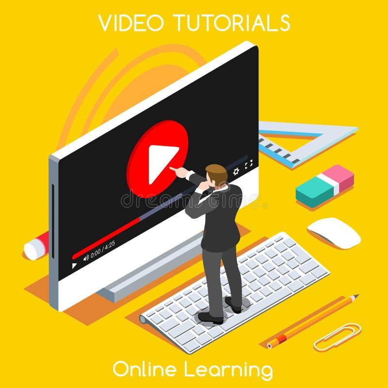 Video gente isometrica d'istruzione illustrazione vettoriale
