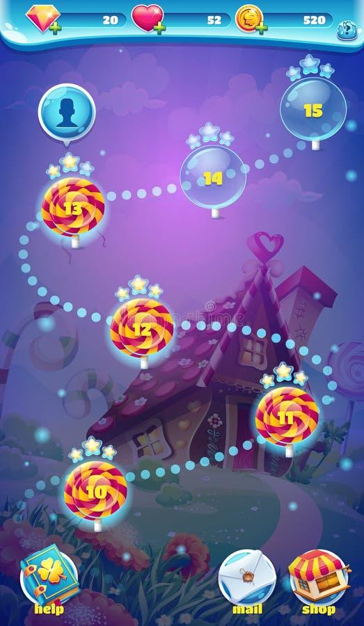 Video giochi di web del mondo del GUI dello schermo mobile dolce della mappa illustrazione vettoriale