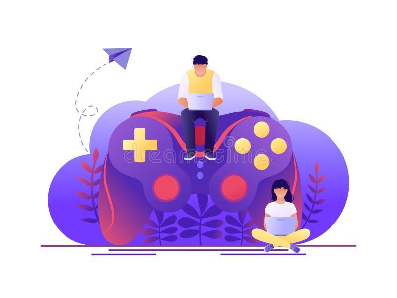 Video gioco, giocante online Grande gamepad con la seduta dei caratteri minuscoli della gente Illustrazione piana di vettore di c fotografia stock
