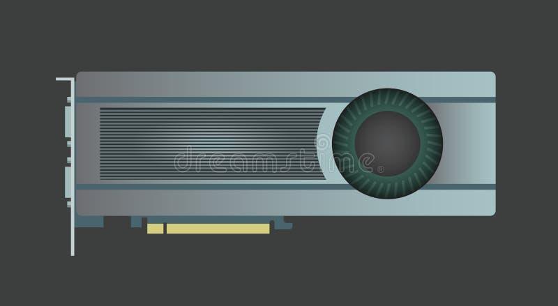 Video Grafische Kaart VGA-Computerdeel Vector illustratie stock fotografie
